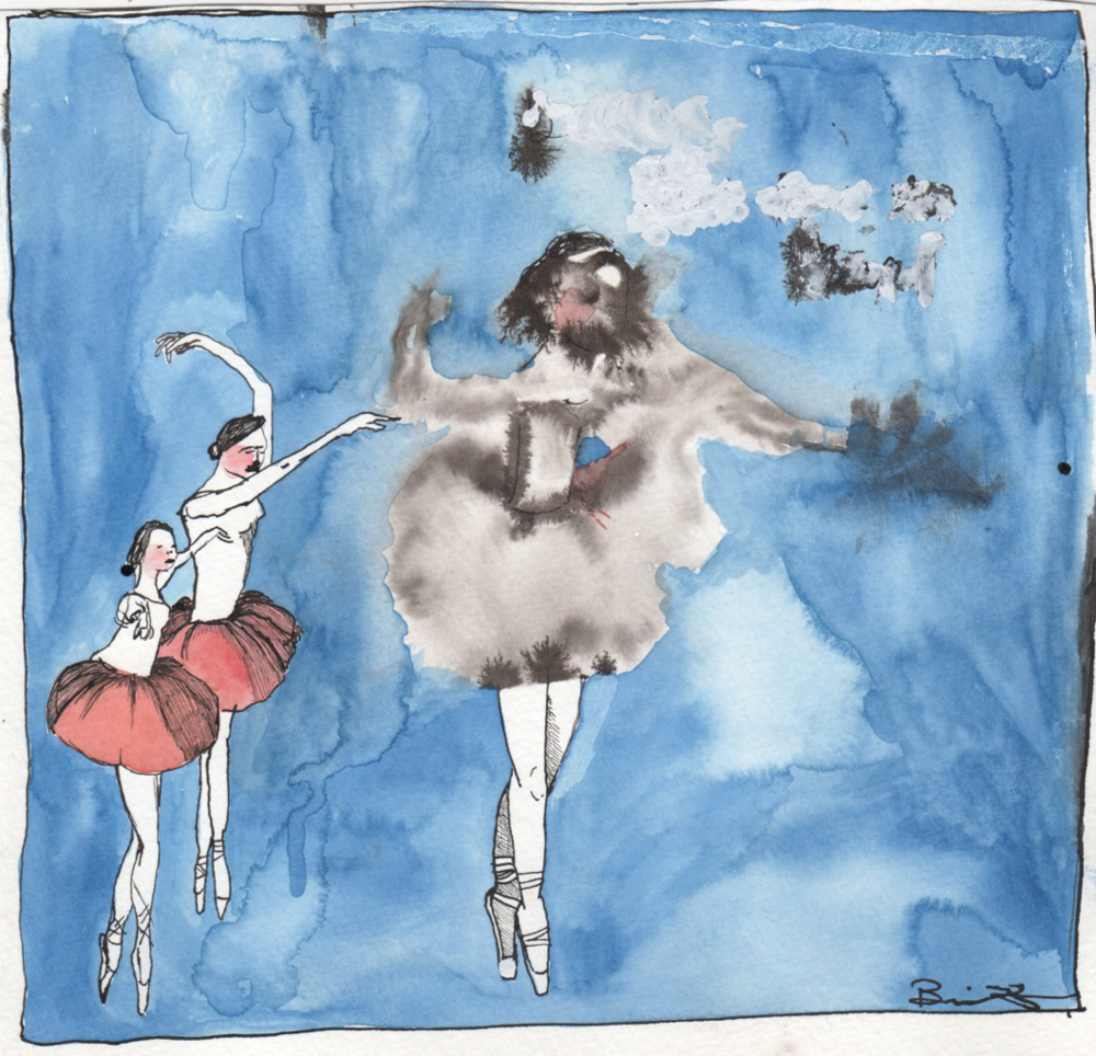 image of watercolor painting of three ballet dancers