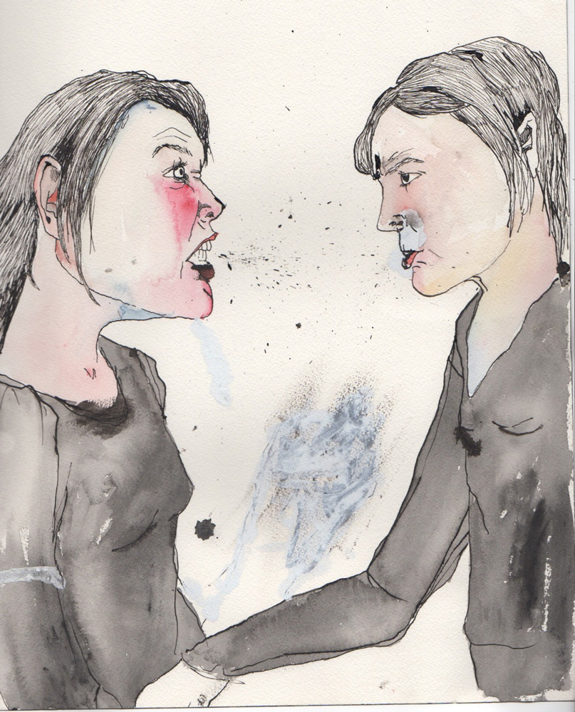 image of pen and ink drawing of two female figures facing one another. One figure is shouting the other is glowering at her.