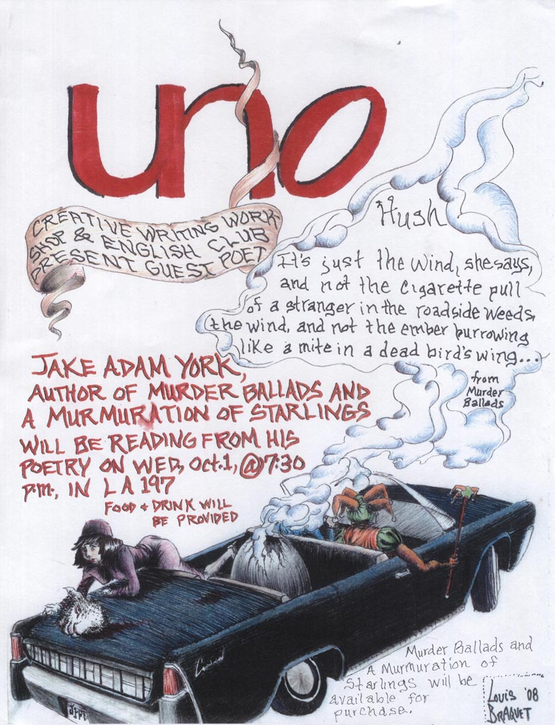 flyer from a Jake Adam York reading at U.N.O. in New Orleans