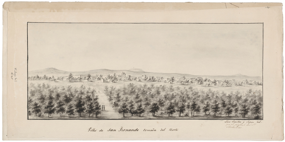 Reproduction of the full illustration of the third detail by J.L. Berlandier.  Two men are walking alone in an orchard on the outskirts of a settlement.