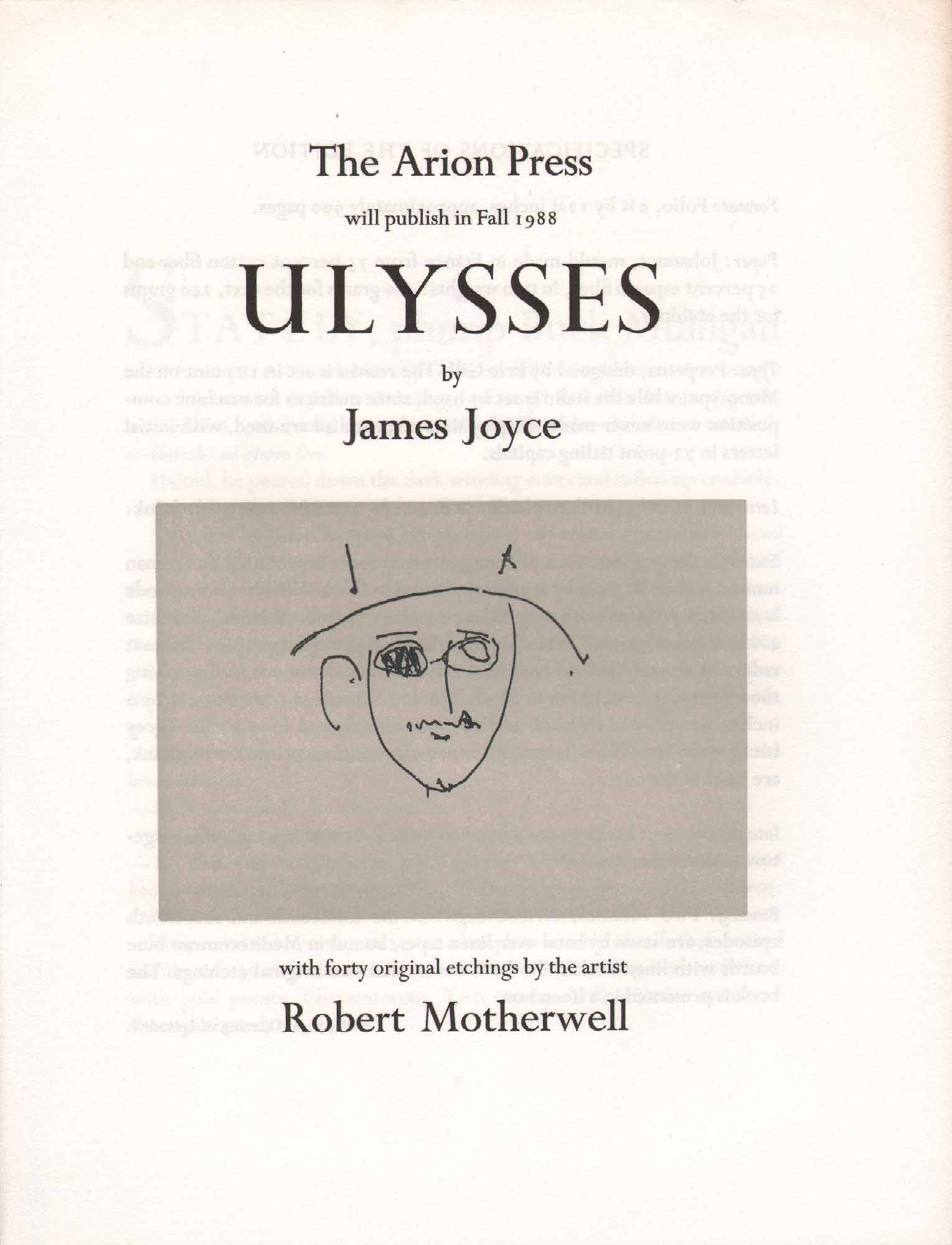 image of broadside by James Joyce with images by Robert Motherwell
