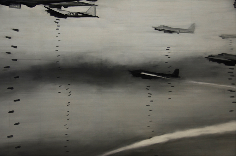 image of a fleet of WWII Nazi aircraft dropping bombs