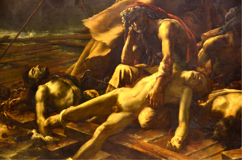 image of painting of the aftermath of a battle in which a father figure broods over the death of a son