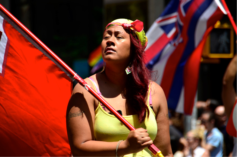 image of woman waving flag