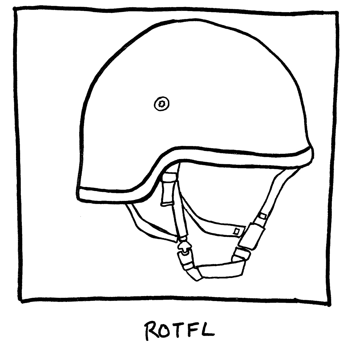 image of an army helmet. Labeled: ROTFL