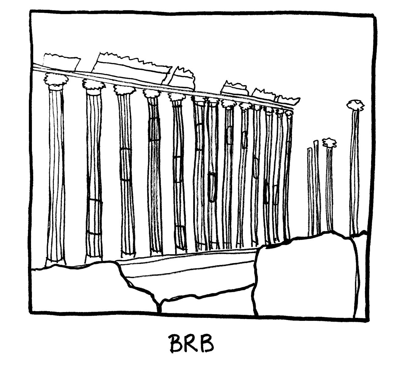 image of ruins, a series of columns not attached to a building. Labeled: BRB