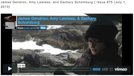 image of James Gendron, Amy Lawless, and Zachary Schomburg